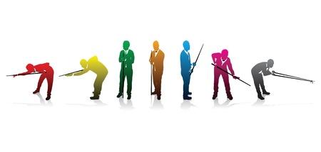 ensemble de silhouettes des joueurs de snooker