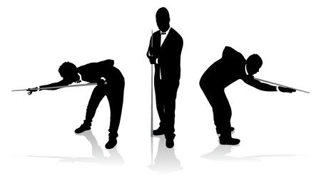 set van snookerspeler silhouetten