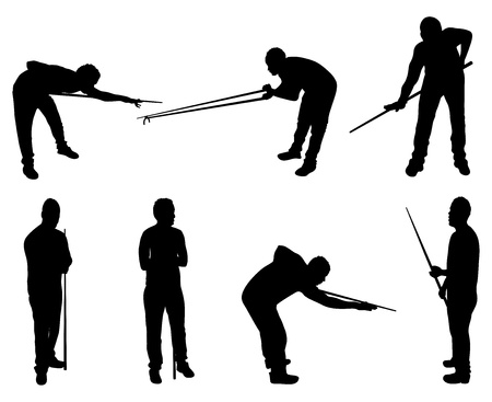 target practice: set of snooker player silhouettes