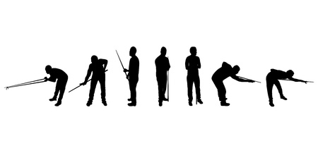 pool cue: set of snooker player silhouettes