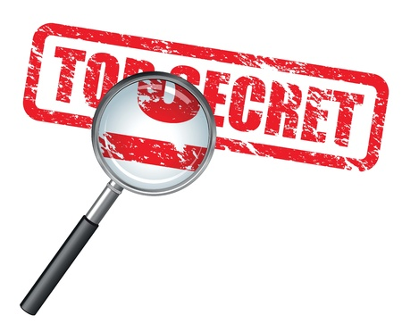 secret information: top secret magnifying glass