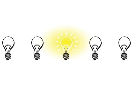 bright ideas: light bulb idea Illustration