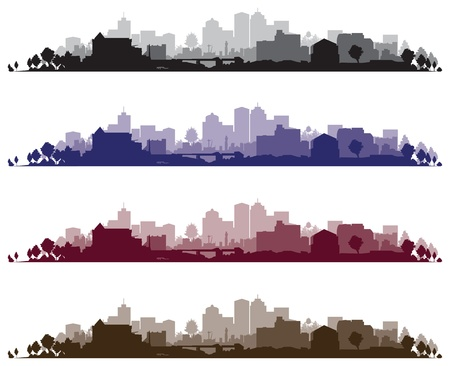 tree silhouettes: cityscape backgrounds