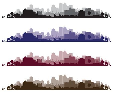 silueta: Fondos paisaje urbano Vectores