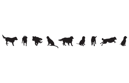 set of dog silhouettes Vector