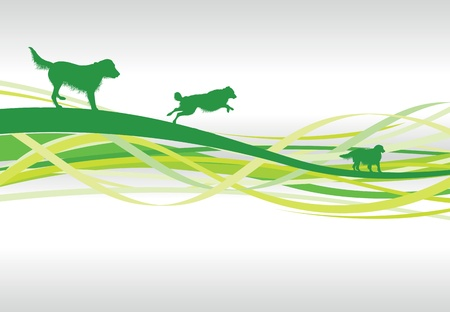 green abstract dog line background Vector