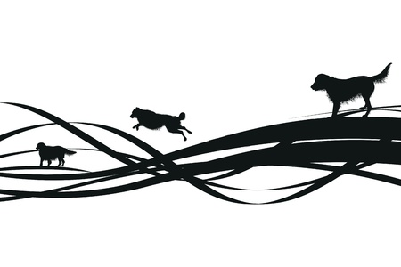 leaping: black abstract dog background Illustration