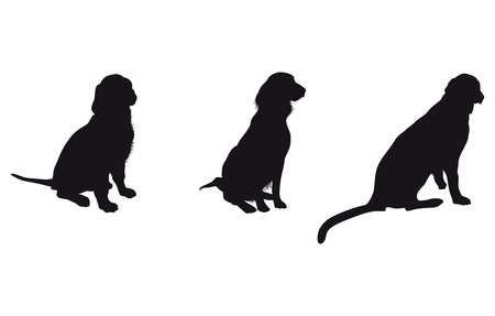 dog sitting: set of dog silhouettes Illustration