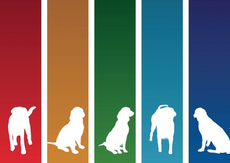 dog silhouette: colourful dog banners Illustration