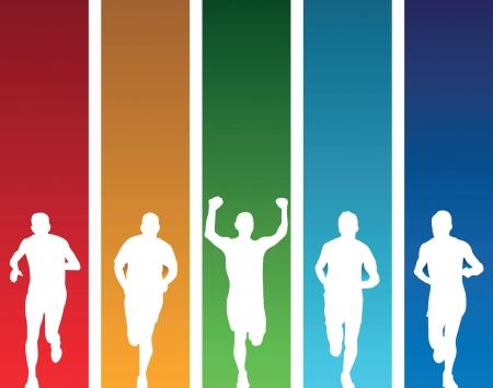 yarışma: renkli koşucular Çizim