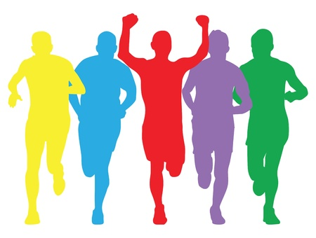 female athletes: colourful runners