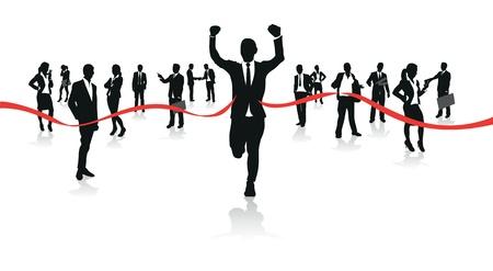 empresarios corriendo a la línea de meta