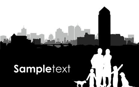 familie silhouetten op een stadsgezicht achtergrond