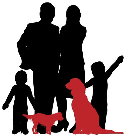 small group of animal: a family silhouette Illustration