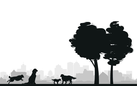 dogs play: four dogs on a grass background Illustration