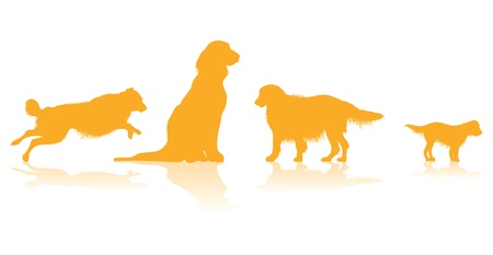 four dog silhouettes Vector