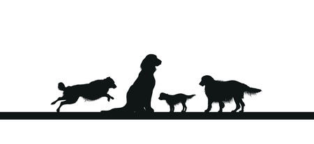 large group of animals: four dog silhouettes Illustration