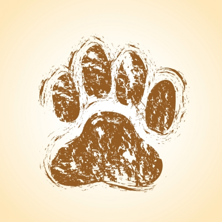 dog walking: dog paws Illustration