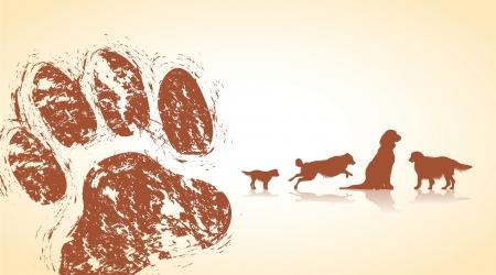 dirty feet: dog paws Illustration