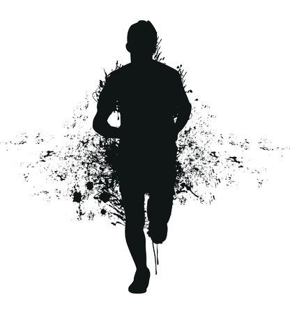 running silhouette: running splash man