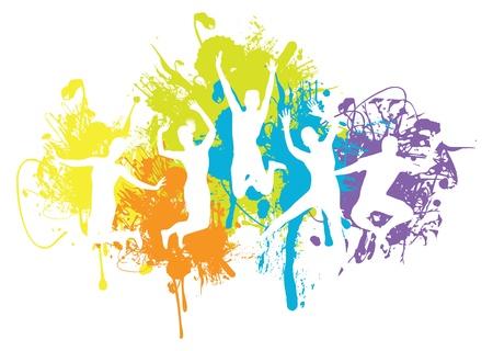 młodzież: tło skoczek Ilustracja