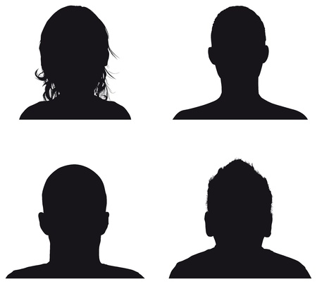 'head and shoulders': people profile silhouettes Illustration