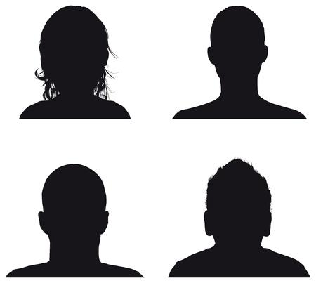 personas siluetas perfil Ilustración de vector