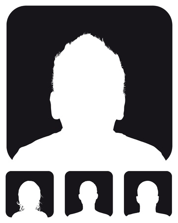head shot: people profile silhouettes Illustration