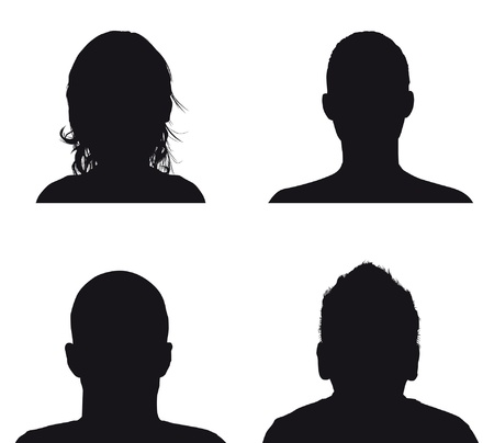 head and shoulders portrait: people profile silhouettes Illustration
