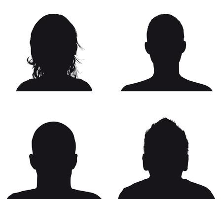 people silhouettes de profil Vecteurs