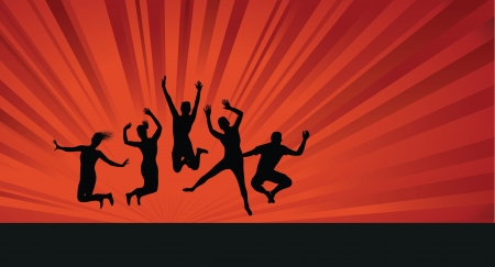 jump up: group jumping on a red background Illustration