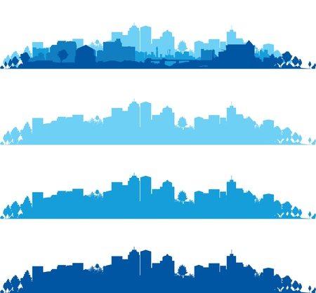 city skyline night: set of cityscapes Illustration