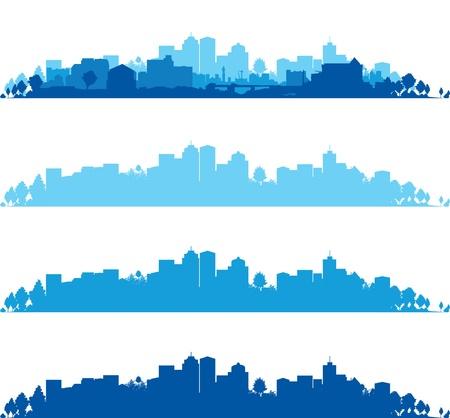 city skyline: set of cityscapes Illustration