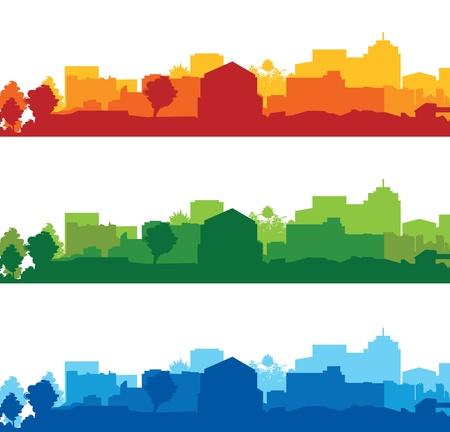 conjunto de paisajes urbanos