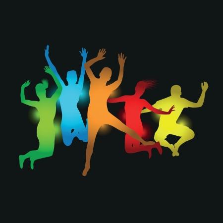 juventud: personas coloridos que saltan Vectores