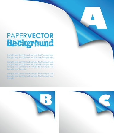 abc blue paper fold Vector
