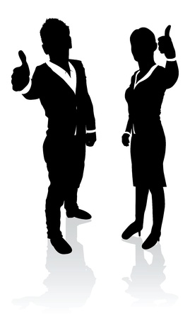 two thumbs up: business people thumbs up Illustration