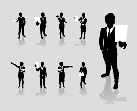 business people set holding up paper signs Stock Vector - 18291599