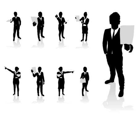 business people set holding up paper signs Stock Vector - 18291597