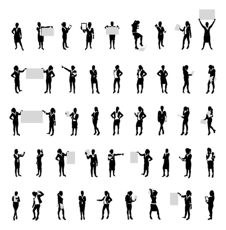 woman walk: business women people silhouette set Illustration