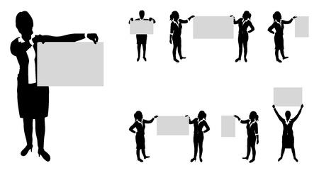 business people set holding up boards  Stock Vector - 18291584