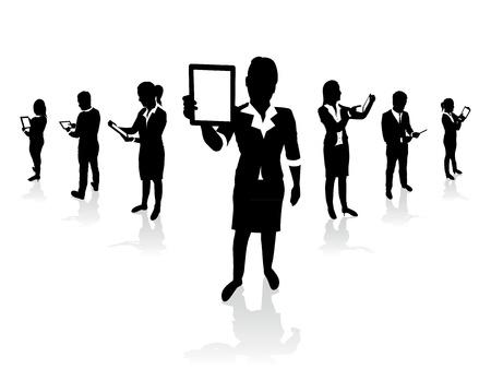 mensen uit het bedrijfsleven houden tablet-schermen Stock Illustratie