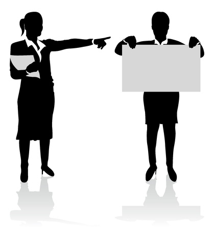talk show: business people pointing at a board Illustration