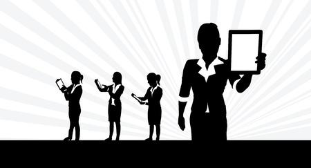 business women tablet background Stock Vector - 18426300