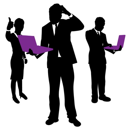 lap: business people confused about computers Illustration