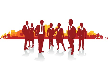 business people silhouette on a cityscape background Stock Vector - 18682789