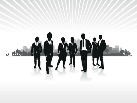 crowds of people: business people silhouette on a cityscape background