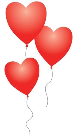 set of three heart balloons Stock Vector - 18989066