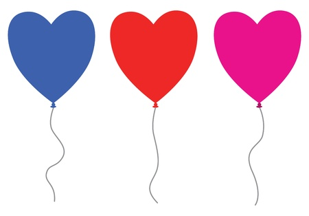 set of three heart balloons Stock Vector - 18989075