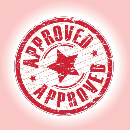 tampon approuv�: un r�sum� rouge approuv� timbre